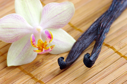 Orchid with vanilla beans on the mat